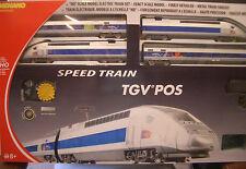 HO MEHANO TGV POS HIGH SPEED TRAIN SET LOCO & 2 PASS CARS #58571 (DAMAGED BOX)