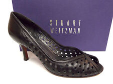 STUART WEITZMAN Size 7.5 Black Perforated Peep Toe Heels Pumps Shoes 7 1/2