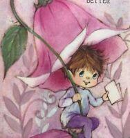 Vintage Greeting Card Hallmark Fairy Elf Sprite In Pink Flower Get Well