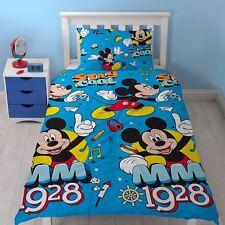 Letto singolo Mickey Mouse Cool Set Copripiumino MUSICA HOT DOG GIOCHI Blu Arancione