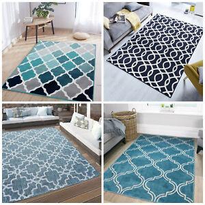 Blue Trellis Rugs | Modern Moroccan Living Room Rugs | Long Hallway Runner Rugs