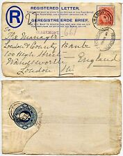 SOUTH AFRICA 1918 REGISTERED STATIONERY FRONT CLAREMONT to WANDSWORTH GB WW1