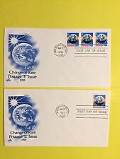 "USPS #2277, 2279  set of 2 ""E"" Earth (25c) Stamps ArtCraft Cachet"