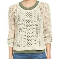 Madewell Tan Crochet Knit Sweater 100% Cotton Pre-Owned Size S