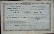 Ferrovie orientali 200 austriaco. ORO FIORINI 500 FRS Vienna 1906 unentwertet