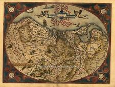 Reproduction Abraham Ortelius Antique Map Old Germania Netherlands Germany Plan