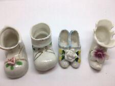 Vintage Group/Lot of 4 Miniature Porcelain Shoes Japan