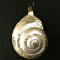 Vintage Blown Glass Figural Nautical Snail Shell Glitter Ornament Germany 3 3/4""