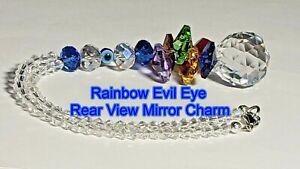 Rear View Mirror Crystal Rainbow Evil Eye Large Crystal Ball Suncatcher Car Gift