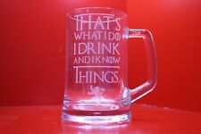 Engraved Glass Tankard Game Of Thrones I Drink And I Know Things Tyrion Lion