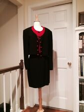 Vintage Moschino Couture! Burgundy & Black Skirt Suit Size 44/10/8/6