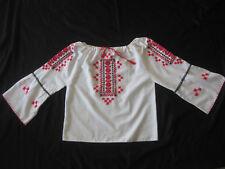 vintage Hungarian Hand Embroidered Blouse Drawstring neckline