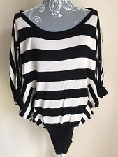 Jane Norman Womens Jumper Size 10 Black White Striped Oversized Button Detail