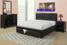 Modern Black 1 Piece Bedroom Full Size Bed Faux Leather Tufted Headboard