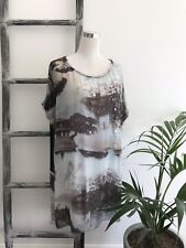 All Saints Silk Printed Longline Tunic Top - Size 12 to 14