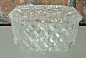 HEAVY VINTAGE BOHEMIAN DIAMOND CUT LEAD CRYSTAL DISH BOWL..4 FOOTED and LIDDED