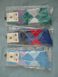 5 PAIRS OF ARGYLE SOCKS  SHOE SIZE 6 - 11, NEW WITH TAGS