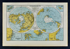 c 1885 Hartleben Map World Polar Projections North South Pole Antartica Arctic