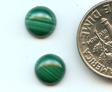 MALACHITE Genuine Natural African Stone ONE PAIR 7mm Round Cabochons