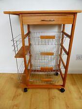 Wooden Kitchen Trolley Table Plant Stand Wheels Baskets Wine Rack Shelf Storage