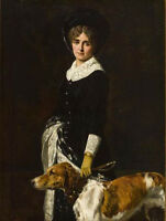 "oil painting handpainted on canvas""Young Woman with Dog""@N14274"