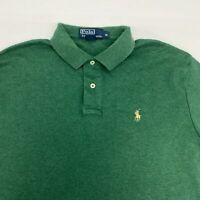 Polo Ralph Lauren Polo Shirt Men's Medium Short Sleeve Green High Low Hem Cotton