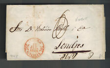 1848 Galicia Spain Letter Sheet Stampless Cover to london England