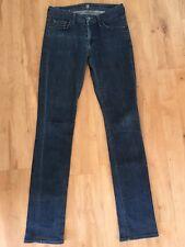 Ladies Blue Denim 7 FOR ALL MANKIND Skinny Jeans Size 26 AUS 10 Dark