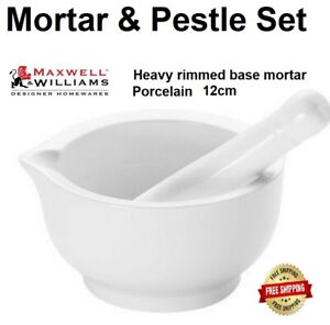 Maxwell and Williams Mortar and Pestle 12cm Kitchen Tool Set White Porcelain