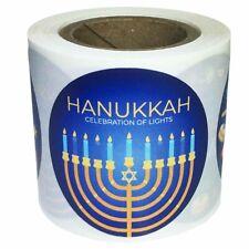 "Blue Happy Hanukkah Celebration Of Lights Stickers | 1.5"" inch Round | 100 Pack"