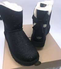 UGG Australia Women Boots Mini Bailey Bow SPARKLE BLACK SIZE 6