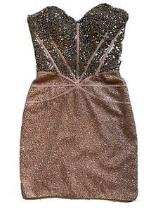 Pink & Silver SHERRI HILL Dress Rhinestone Corset Formal Homecoming Juniors Sz 0