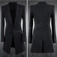 Mens One Button Lapel Collar Slim Fit Long Black Blazer Jacket Dress Coat Suit