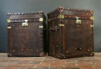 English Handmade Pair Leather Side Table Trunks
