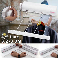 3.2M 4 Line Wall Mounted Indoor Washing Clothes Laundry Airer Dryer  .-
