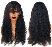 Brazilian Remy Human Hair Wig Curly Black Lace Front Wig Full Lace Wig with Bang