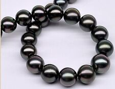 "18""10-11mm Natural Tahitian genuine dark black gray round pearl necklace"