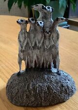 Meerkats Sculpture from Smithsonian Institution Hand Painted Bronze Made in Usa