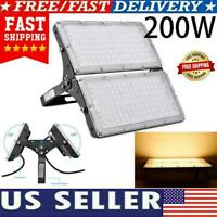 200W Led Flood Light Outdoor Security Garden Yard Spotlight Lamp warm white US