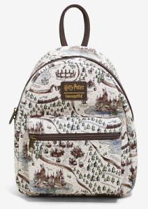 Loungefly WB Harry Potter School Grounds Drawn Map Allover Print Mini Backpack