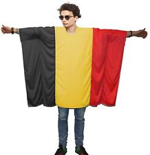 Unisex Belgian Flag Poncho OneSize Belgium Fancy Dress Supporter Costumes