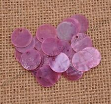 30pcs Purple Flat Round Mother Of Pearl Shell Coin Drop Charm Beads 15MM