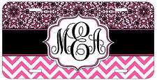 Personalized Monogrammed Chevron Lace Pink License Plate Custom Car Tag L415