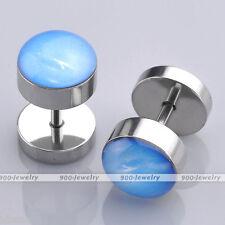 Pair Men Steel 16G Blue Sky Fake Plug Expander Tunnel Cheater Ear Stud Earrings