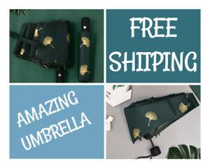 AMAZING Ginkgo Biloba Automatic Umbrellas Windproof Folding Rainy Umbrella