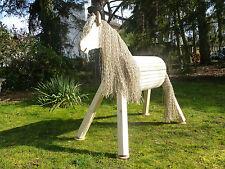100cm Holzpferd wetterfest Holzpony Voltigierpferd Spielpferd mit Maul NEU