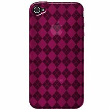 Flexible TPU Gel Case for iPhone 4 / 4S - Argyle Pink