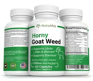 Premium Horny Goat Weed 1000mg & Maca Root Powder 60 caps Testosterone Booster