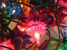 Vintage Christmas String of 40 Foil Star Fairy Lights Working ~ VGC ~ Boxed