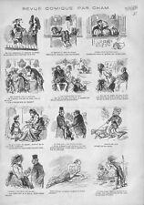 Théâtre de Molière Perruque Lauréat Prix du Dessin Ministre de Cham GRAVURE 1876